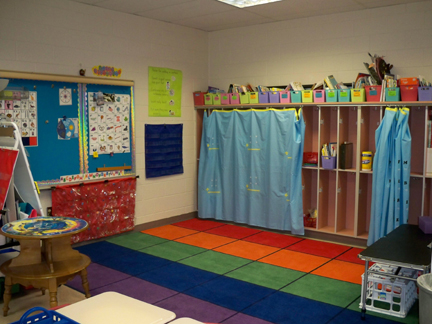 The whole-group area in Polly's classroom