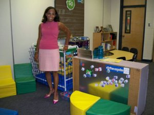 Kindergarden teacher in HEELS by her stylin' magnetic area