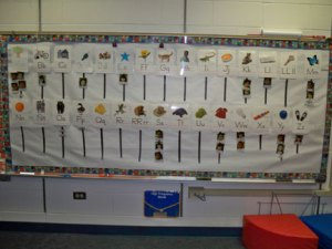 Low, interactive word wall in kindergarden whole-group area
