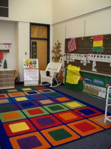 Whole-group area in ECE houses a word wall