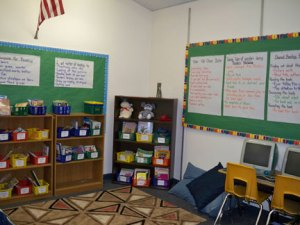 Third grade classroom library with anchor charts