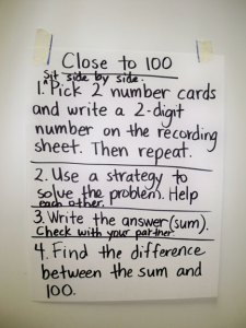 Directions written with the class on how to play this game