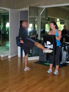 Our instructor Marion and Jessica demonstrate a kicking exercise