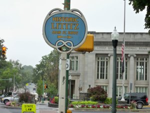 A historic marker welcomes you to Lititz