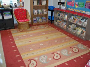 Lovely classroom library doubles as a whole-group area