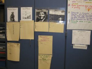 Sign up sheets for students to choose books for literature circles on Harriet Tubman